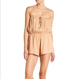 NWT Poof Coral Pink Romper Lace Up Front Strapless